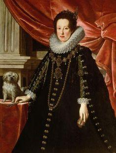 Anna de 'Medici (1616-1676), Archduchess, with a lap dog, three-quarter portrait   Justus Sustermans   circa 1630