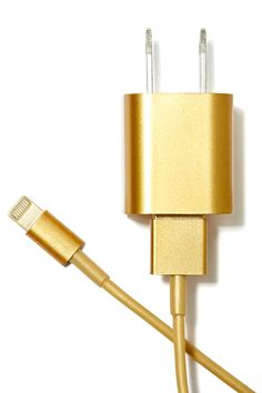 gold iphone charger. definitely need. #glamour #tech