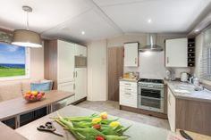 2013 WILLERBY CAMEO (NS14) KITCHEN      Integrated 70/30 fridge-freezer     Double cavity gas oven with hob/grill     Externally vented stainless steel extractor     Tile effect heat-proof hob splashback     Tile effect vinyl flooring     *Microwave not included