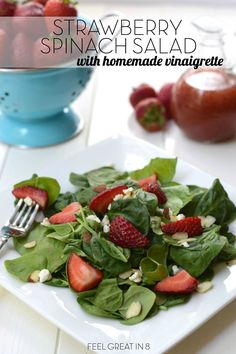 This simple Strawberry Spinach Salad with Homemade Strawberry Vinaigrette is fresh, healthy, and so flavorful! Perfect for your next dinner party!   Feel Great in 8 - Healthy Real Food Recipes