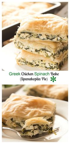 An easy greek spinach chicken bake, filled with spinach, salty feta cheese, garlic, grilled chicken and a flakey buttery crust.