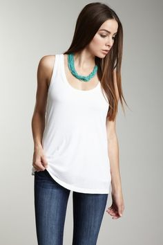 Plain white tank, jeans, and colorful accessories !