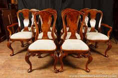 Photo of Set Queen Anne Dining Chairs Walnut Chair 10 Seats Walnut Dining Chairs, Antique Dining Chairs, Walnut Chair, Fabric Dining Chairs, Queen Anne Furniture, Queen Anne Chair, Dining Room Table Centerpieces, Chippendale Chairs, Dining Room Design