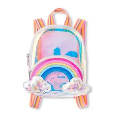 The Children's Place Girls Rainbow Confetti Shaker Iridescent Mini Backpack - Multi - One Size Cute Mini Backpacks, Girl Backpacks, Pastel Backpack, Unicorn Fashion, Cute School Supplies, Girls Bags, Summer Bags, Cute Bags, Girls Accessories