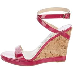 Pre-owned Jimmy Choo Patent Leather Wedge Sandals ($150) ❤ liked on Polyvore featuring shoes, sandals, pink, wrap shoes, wedges shoes, cork wedge heel sandals, jimmy choo sandals and pink sandals