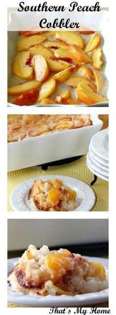 Southern Recipes Best Country Cooking Recipes - Southern Peach Cobbler - Easy Recipes for Country. 13 Desserts, Delicious Desserts, Dessert Recipes, Yummy Food, Fruit Recipes, Chicken Recipes, Southern Peach Cobbler, Recipe For Peach Cobbler, Peach Cobbler Dump Cake