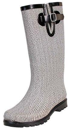 Herringbone Rain Boots - a little dressier if you have to dash to work in heavy rain!