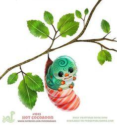 Cute Food Drawings, Cute Animal Drawings Kawaii, Cute Cartoon Drawings, Kawaii Drawings, Animal Puns, Cute Creatures, Funny Art, Cute Art, Fantasy Art