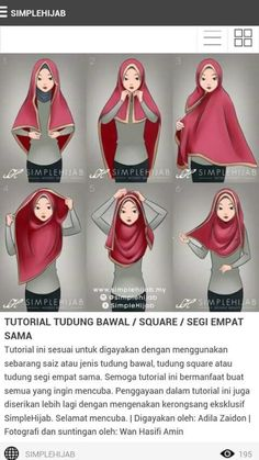 Square hijab tutorial Omg yeayyy found the tutorial. I've been trying many ways to wear square hijab zz Square Hijab Tutorial, Hijab Style Tutorial, Easy Hijab Tutorial, Hijab Outfit, Hijab Dress, Islamic Fashion, Muslim Fashion, Hijabs, How To Wear Hijab