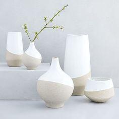 Buy west elm Half-Dipped Stoneware Medium Bowl Vase, Grey/White, from our Vases range at John Lewis & Partners. Porcelain Vase, Ceramic Vase, Fine Porcelain, Painted Porcelain, Ceramic Decor, Hand Painted, Diy Painted Vases, Porcelain Jewelry, Ceramic Planters