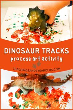 Looking for an easy toddler dinosaur art activity? Make footprints with paint across paper! #toddlers #art #dinosaurs #paint #process #activity #teaching2and3yearolds Art Activities For Toddlers, Lesson Plans For Toddlers, Nursery Activities, Dinosaur Activities, Dinosaur Crafts, Painting Activities, Dinosaur Art, Toddler Art, Toddler Crafts