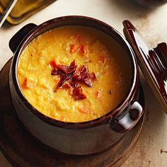 Butternut Squash Bisque Chipotle peppers give this creamy soup a bit of heat, while smoked Gouda cheese adds earthy richness. Butternut squash and apples provide a buttery texture.