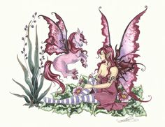 """Pink, artwork by Amy Brown, a magical open edition print to make the imagination run wild. Let it take you to an enchanted land where fairies and unicorns are great friends, and play in the meadows all day long.  Dimensions: 11"""" W x 8 1/2"""" H  Materials: 80 lb cover stock Price: $12.95"""