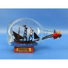 Handcrafted Model Ships Blackbeard's Queen Anne's Revenge Pirate Model Ship in a  Bottle