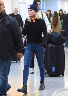 Stylish: Margot Robbie was spotted arriving at JFK airport in New York City on Sunday...