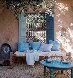 An Indian Summer: Couleur Locale An Indian summer: local color Outdoor Rooms, Outdoor Living, Outdoor Furniture Sets, Exterior Design, Interior And Exterior, Indian Interior Design, Indian Interiors, Home Design, Living Spaces