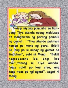 Author: Santos, Nida and Margie Faderagao Disclaimer: If you are the original creator of. Stories With Moral Lessons, Moral Stories For Kids, Short Stories For Kids, Reading Comprehension For Kids, Story Titles, Visual Aids, Classroom Rules, Tagalog, Picture Cards