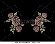 Embroidery tea color ethnic neck line floral pattern with roses. Vector symmetric traditional folk flowers ornament on black background for design.