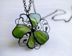 Green clover pendant Stained Glass Metal Statement by ArtKvarta, $33.00