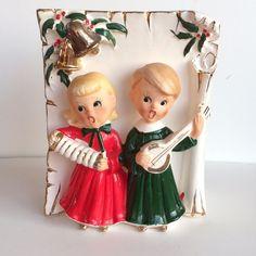 Vtg Ucagco Christmas boy & girl carolers planter vase Japan
