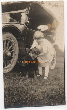 Image detail for -Photo Antique Car Cute Girl Vintage Puppy Rottweiler