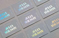 Business cards for Julia Wilson, TV presenter and MC Foil Wedding Invitations, Wedding Invitation Design, Business Cards Layout, Business Card Design, Graphic Design Inspiration, Brand Inspiration, Web Design Mobile, Glass Block Crafts, Stationary Design