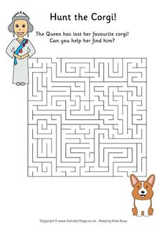 Can you help the Queen find her way to her favourite corgi, for this fun Hunt the Corgi maze? Queen 90th Birthday, Birthday Badge, British Party, Royal Craft, Birthday Crafts, Birthday Activities, Birthday Ideas, Royal Party, Work Activities