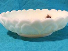 Fenton Vaseline Floral Custard Handmade Glass Ashtray by TahoeTonyas on Etsy