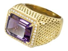 Ray Griffiths emerald cut Amethyst ring with pavé diamonds in yellow gold Emerald Cut, Jewelry Trends, Class Ring, Amethyst, Rings For Men, Diamonds, Jewelry Design, Bling, Jewellery