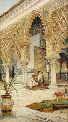 Oriental Backyard with Moors in Conversation - Sevilla, José Montenegro Capell Islamic Architecture, Art And Architecture, Motifs Islamiques, Portrait Photos, Middle Eastern Art, Arabian Art, Foto Poster, Islamic Paintings, Pics Art