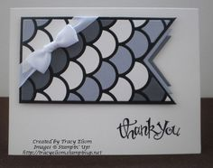 Die cut a shaped layer from Striped Scallop Thinlet panel. http://tracyelsom.stampinup.net