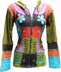 This is really unique Kathmandu Pixie hooded ribs jacket made up of mix multi colour patchwork fabrics.Every patchwork section has the added