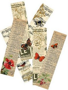 Beautiful printable bookmarks. They would make awesome art and scrap booking ingredients too!
