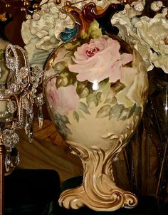Extremely Rare/Spectacular Pairpoint Limoges Rose Vase