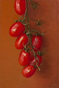 """""""Tomatoes on the Vine, Rome (Italy 2015 painting #5)"""" by Abbey Ryan #Realism"""