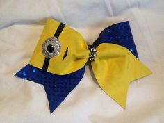 Minion Cheer Bow 3 ribbon by FancylandCheerBows on Etsy, $15.00