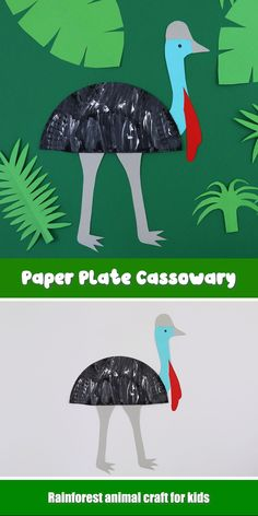 Cassowary craft idea Paper plate cassowary to make using printable template + paper plate. This is a fun rainforest animal craft, or a craft to celebrate Australian animals. Rainforest Crafts, Rainforest Activities, Rainforest Animals, Animal Activities, Vocabulary Activities, Zoo Animals, Giraffe Crafts, Bird Crafts, Dinosaur Crafts