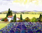Watercolour Print Lavender fields Provence South Of France