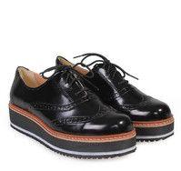 Oxford Black Women's Shoes with Laces. Γυναικεία oxford παπούτσια με κορδόνια.