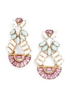 A sweet addition to your earring collection: Sugary, candy-colored baguettes in semicircle setting add a goddess-like touch to these statement drops, finished off with light-catching crystal.