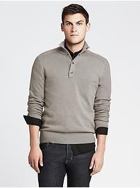 Textured Snap-Placket Pullover