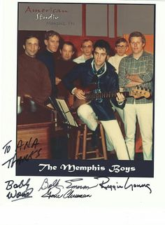 Elvis Presley       The Memphis Boys: Bobby Wood, Reggie Young, Gene Chrisman, and Bobby Emmons Authographs
