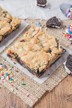 These chewy Birthday Cake Blondies are filled with chunks of Oreo cookie and Funfetti to make a fun new dessert to enjoy on your birthday!