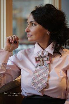 Купить Женский галстук, блистрон ручной работы из шелка - бледно-розовый, в клеточку, женский галстук
