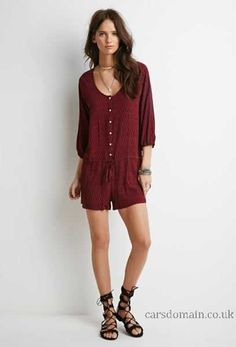 Women\'s Jumpsuit Jumpsuit Abstract Print Buttoned Romper Burgundy Black