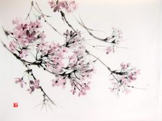 Cherry Blossom in the wind Japanese Ink Painting on by Suibokuga, €35.00