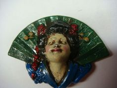 ButtonArtMuseum.com - Vintage Stamped Brass Painted Asian Woman Lady Metal Button