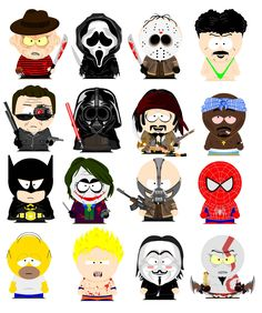 few characters  in south park style