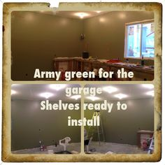 Army green for the garage shelves ready to install Building A Garage, Garage Shelf, Army Green, Flat Screen, Shelves, Instagram, Blood Plasma, Shelving, Flatscreen