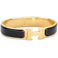 Hermès Clic H Bracelet in Black & Gold (€505) ❤ liked on Polyvore featuring jewelry, bracelets, gold jewelry, yellow gold jewelry, wide gold bangle, gold jewellery and gold bangles